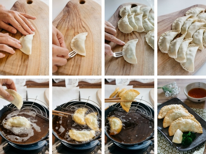 8 steps of deep frying avocado prawn gyozas