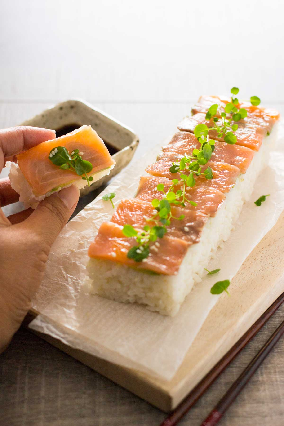 smoked salmon pressed sushi