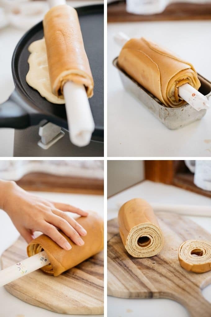 4 photos showing rolling Baumkuchen on a crepe pan using small rolling pin