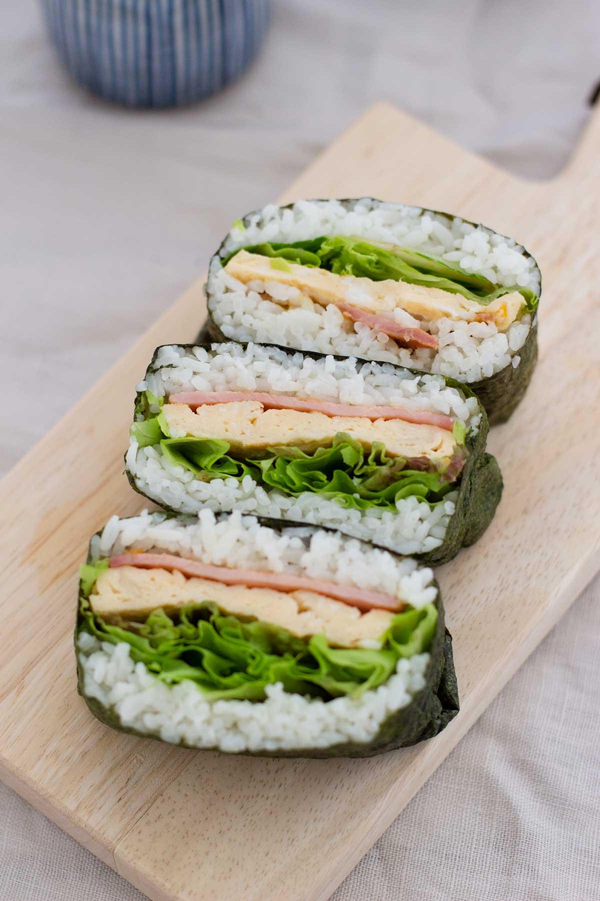 BLT onigirazu rice sandwich