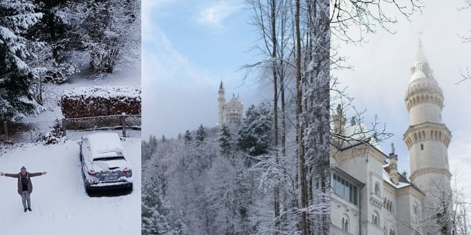 Three photos from left, me standing next to a car snowed in Fussen, a wide view of Neuschwanstein Castle and far right is close up Neuschwanstein Castle
