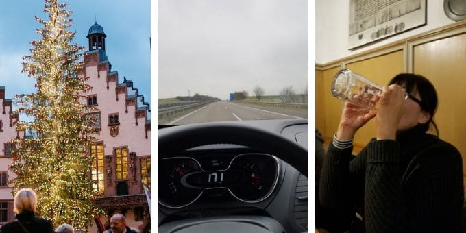Three photos from left, lighten up Christmas tree in Frankfurt, car speed meter showing 171 km/hour, and me drinking a big jug of beer