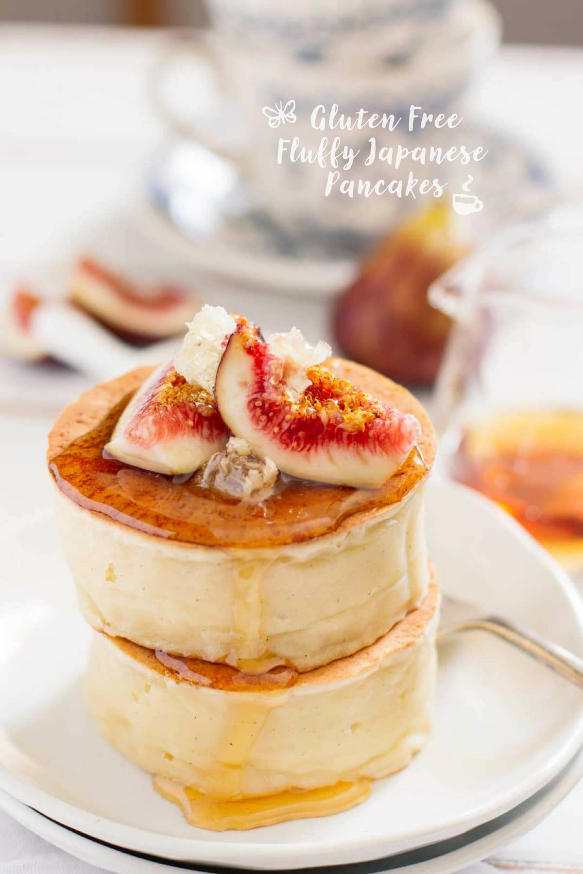 two gluten free Fluffy Japanese Pancakes served with two slice of fig and honey