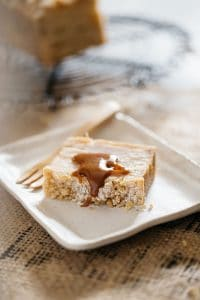 invisible apple crumble slice with miso caramel