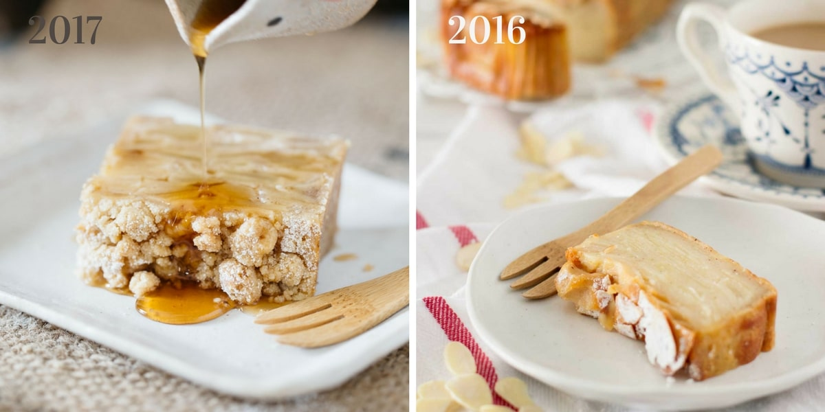 invisible apple cake slice comparison before and after