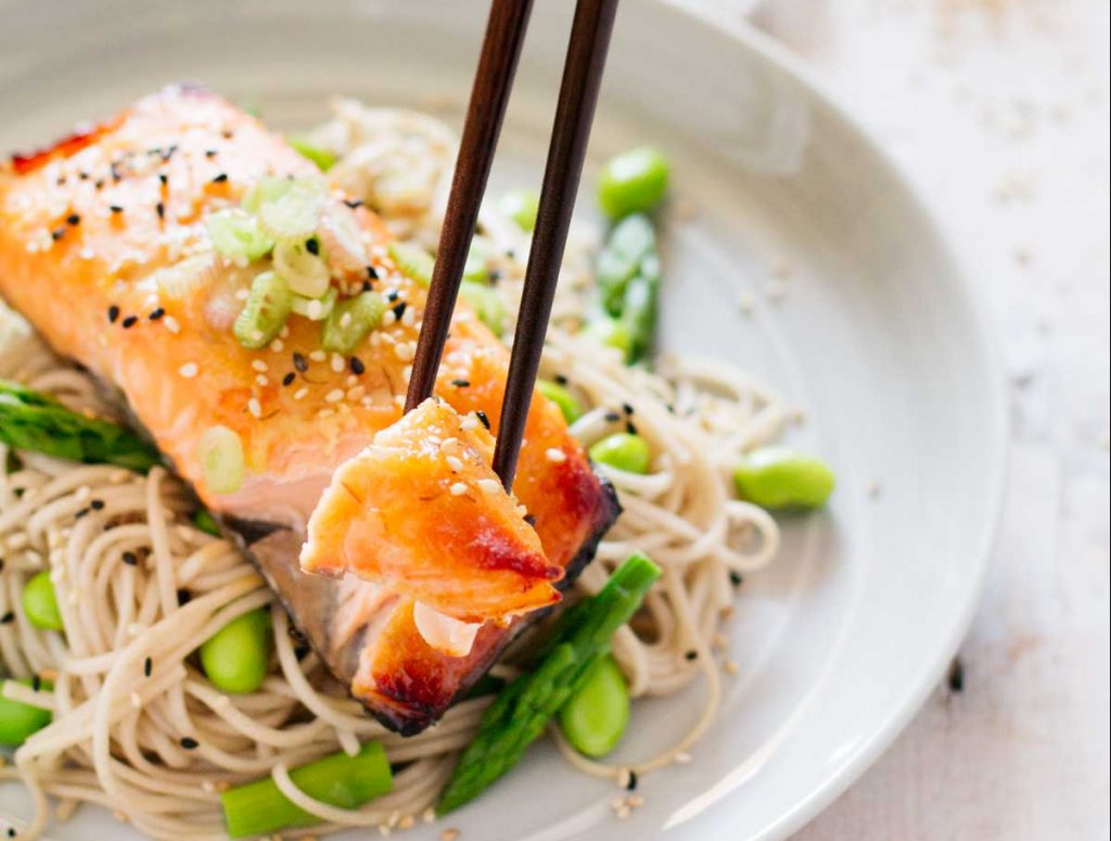 Miso Glazed Salmon served on soba noodle with asparagus and edamame