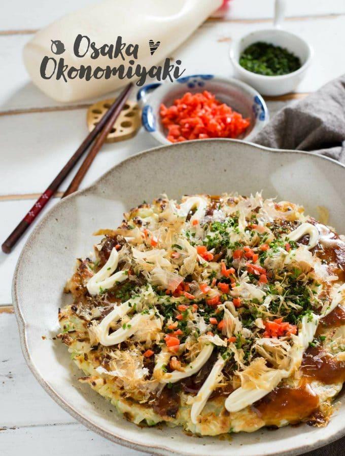 Osaka Okonomiyaki Japanese savoury pancakes 大阪風お好み焼き