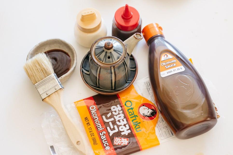 Otafuku okonomiyaki sauce bottle, mayonnaise in dispenser