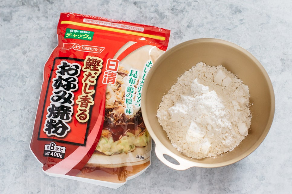 Okonomiyaki pre mix flour packet and the pre mix in a bowl
