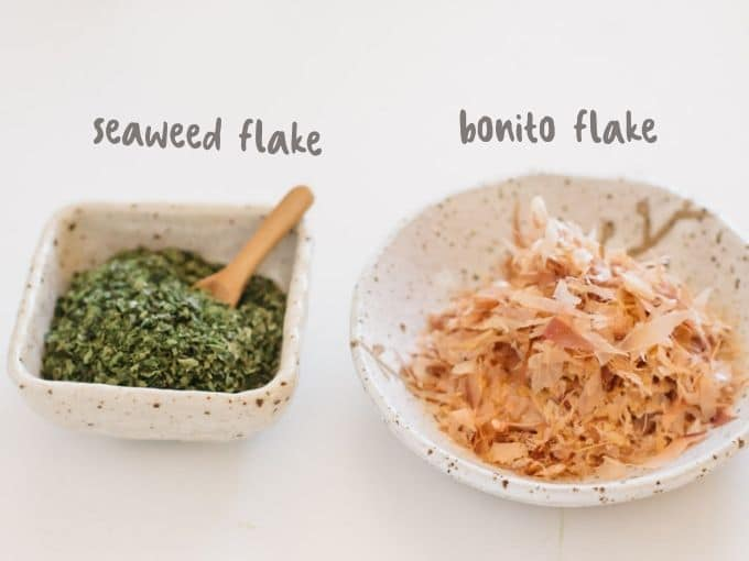seaweed and bonito flake in two small bowls