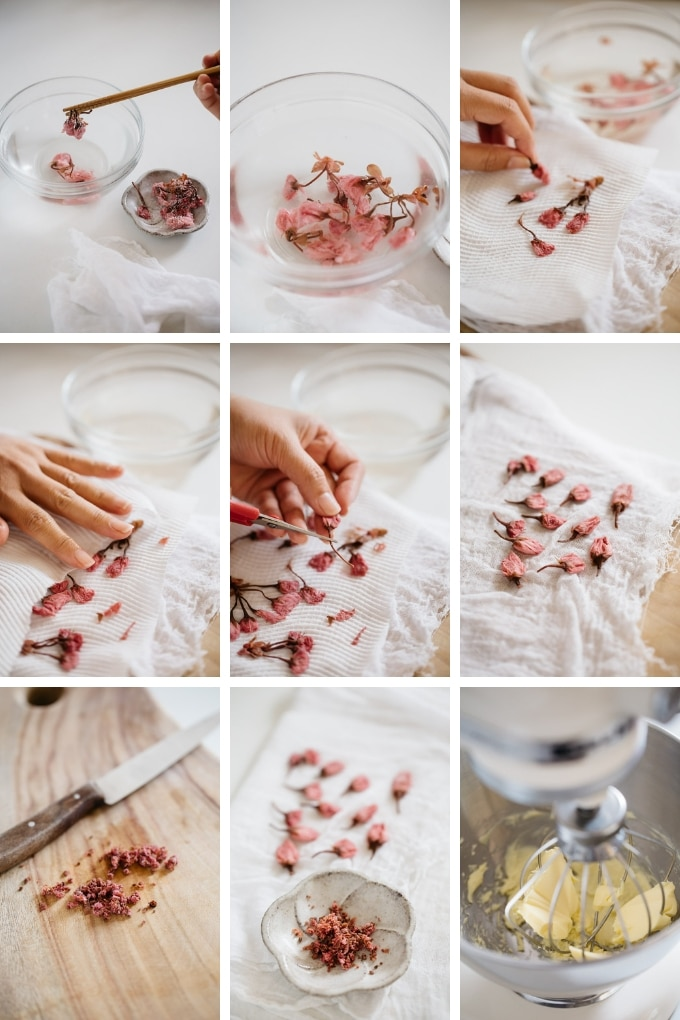 the process of making Sablé with cherry blossom flower in 9 photos