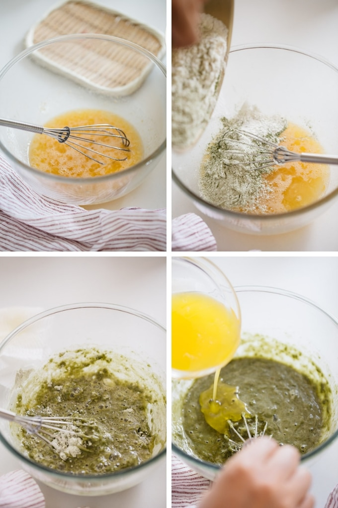the third 4 steps of making matcha madeleines in 4 photos