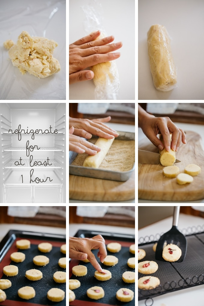 the last 9 steps of making Sablé with cherry blossom flower in 9 photos
