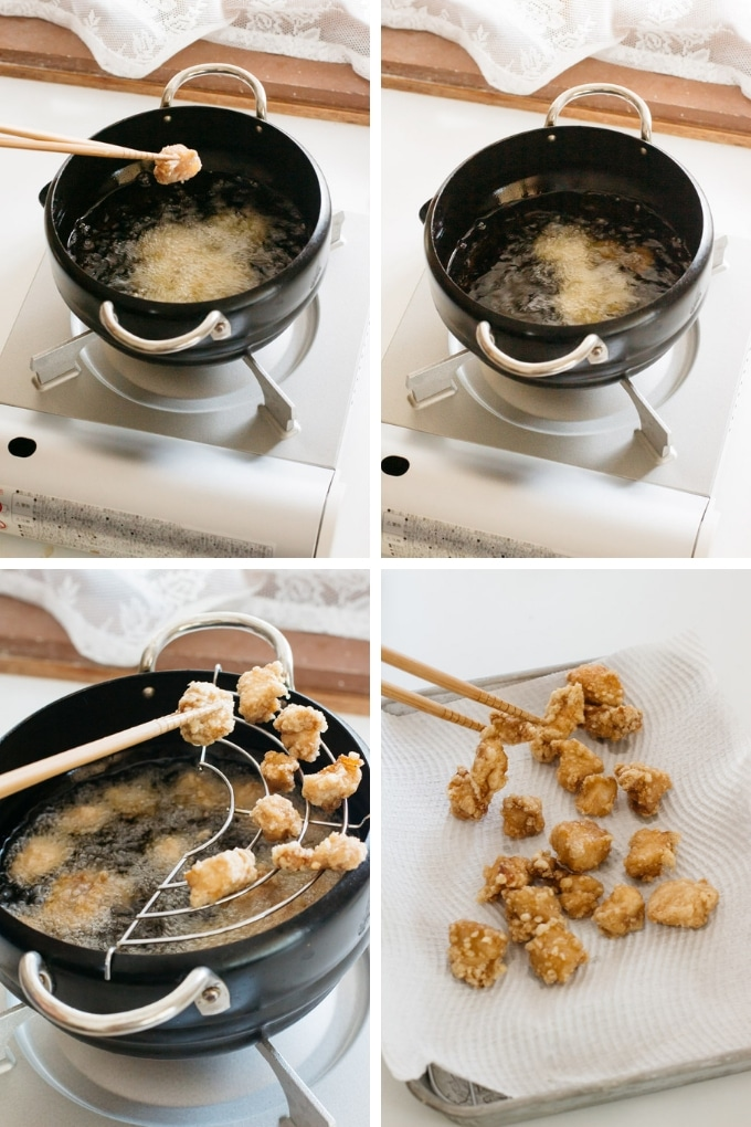 the last 4 steps of making popcorn chicken in 4 photos