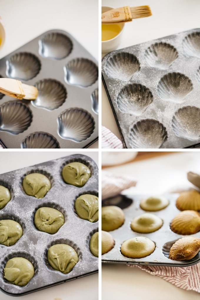 the last 4 steps of making matcha madeleines recipe in 4 photos