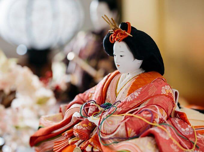 Hinamatsuri traditional Japanese doll on display