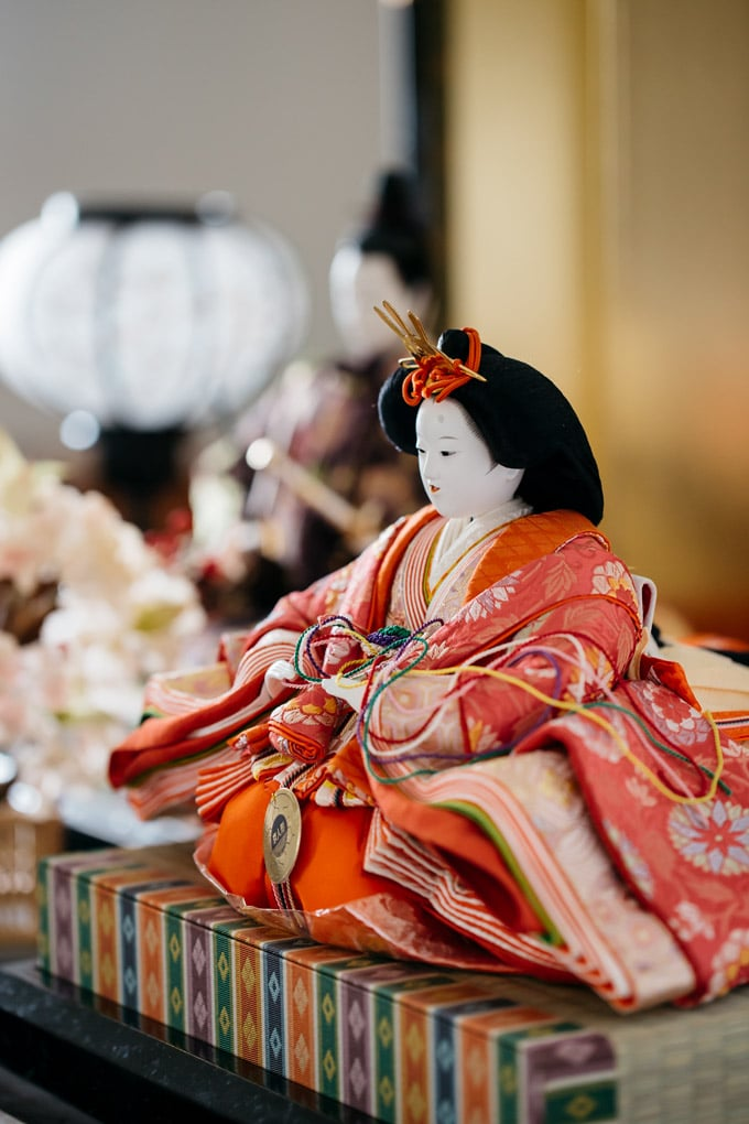 Hinamatsuri traditional Japanese doll on display