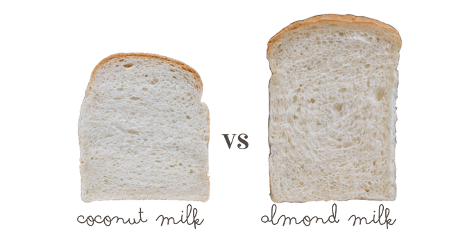 Shokupan made with coconut milk on left and almond milk on right