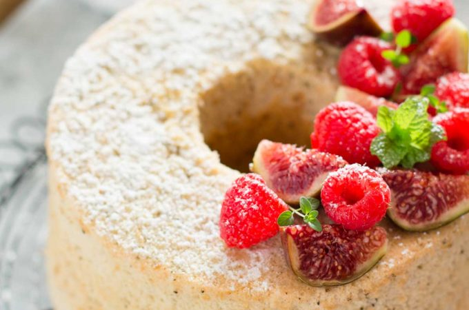 Hojicha Chiffon Cake topped with berries and figs
