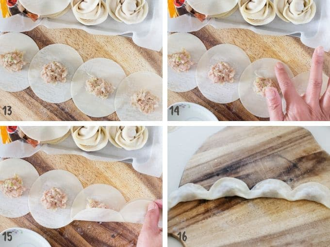 four photos collage showing how to seal the gyoza wrappers all together and roll