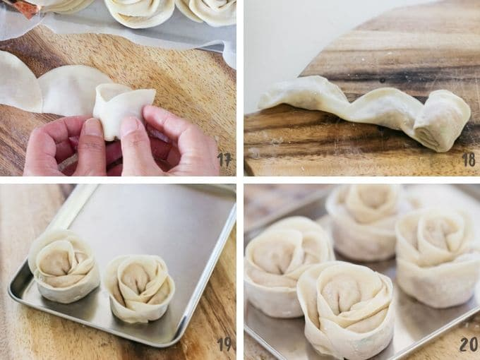 four photo collage showing how to roll rose dumplings