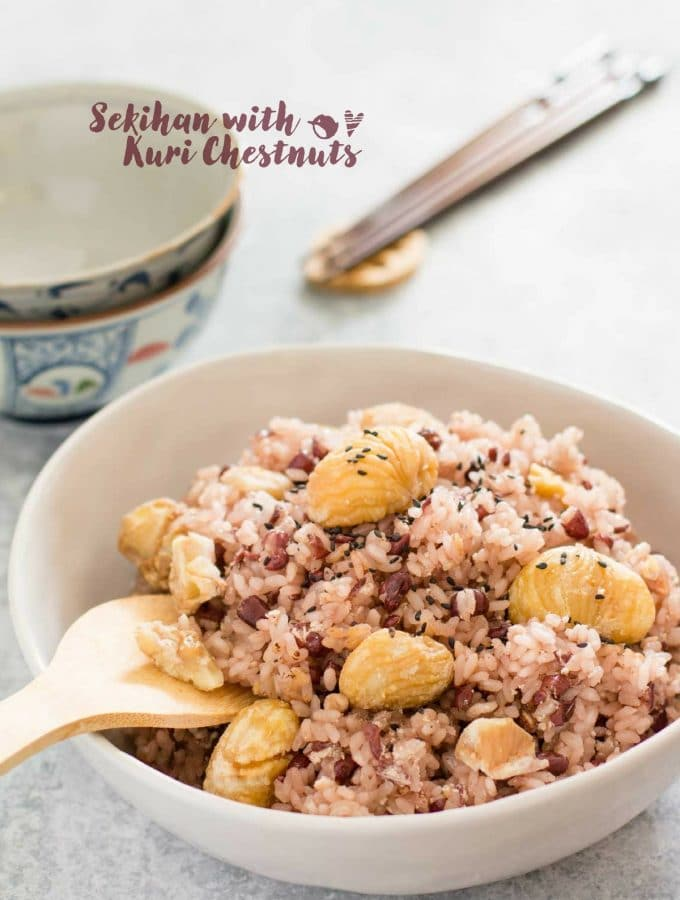 Azuki bean glutinous rice with chestnuts served in a large bowl