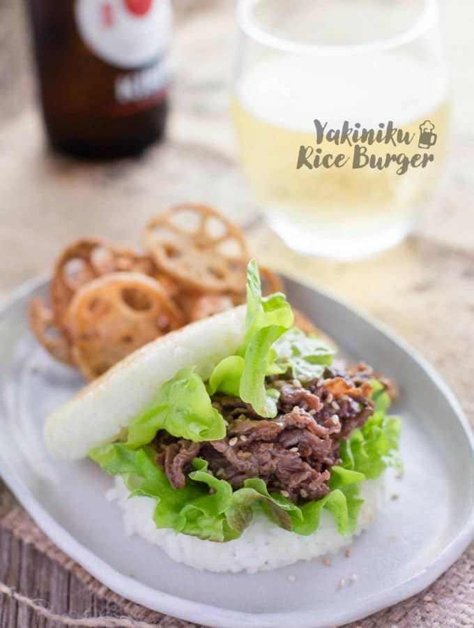 Yakiniku Rice Burger including how to make burger wrappers