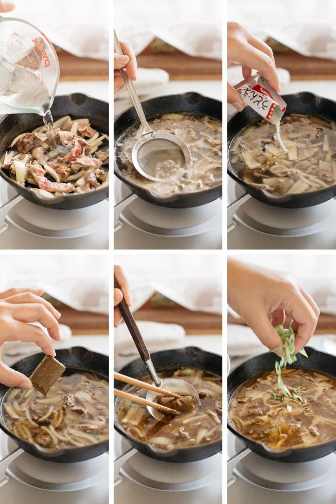 The second 6 steps of making curry udon in 6 photos