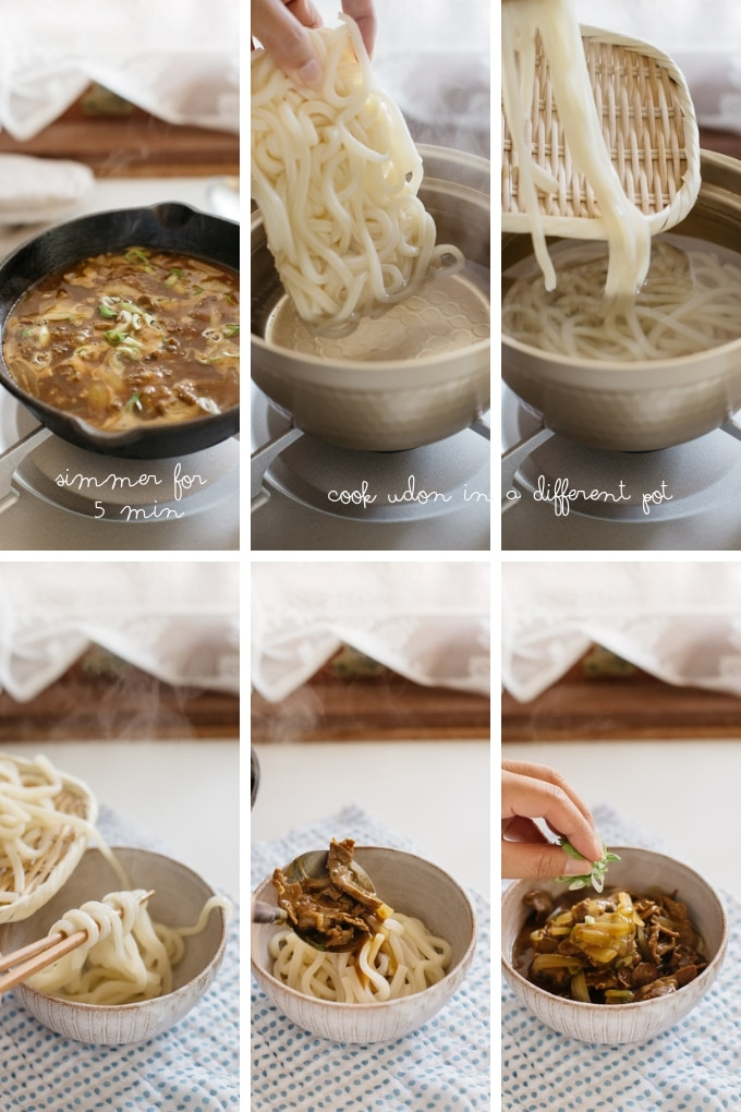 The last 6 steps of making curry udon in 6 photos