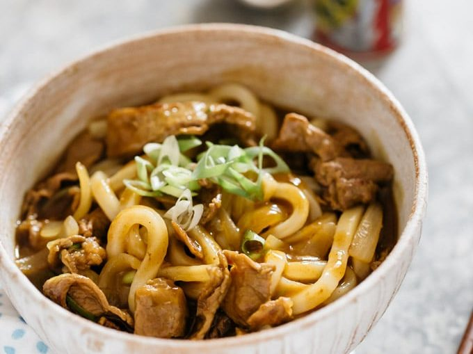 Curry Udon served in a Japanese noodle bowl