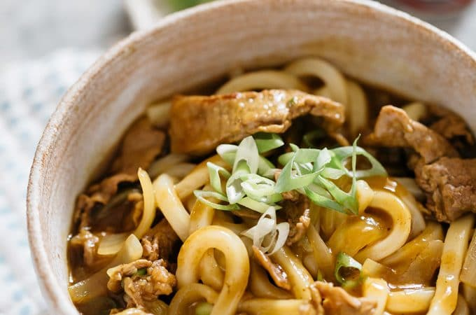 curry udon noodle served in a Japanese pottery bowl