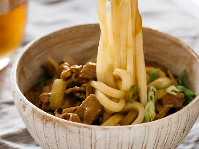 Curry udon served in a large bowl