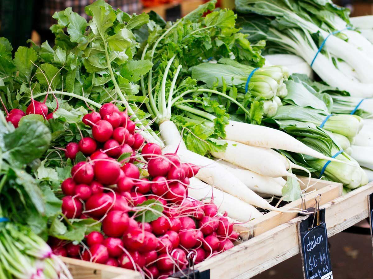 radishes at a fresh produce market