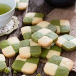 matcha checker board cookies scattered on the table