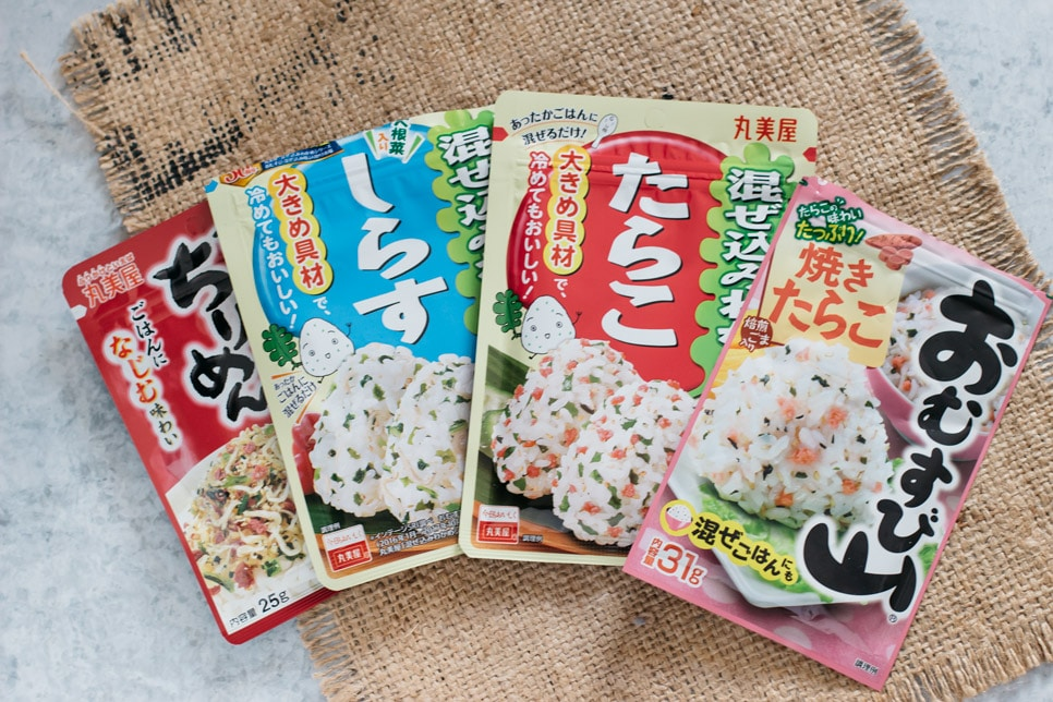 4 different flavours of rice ball seasonings