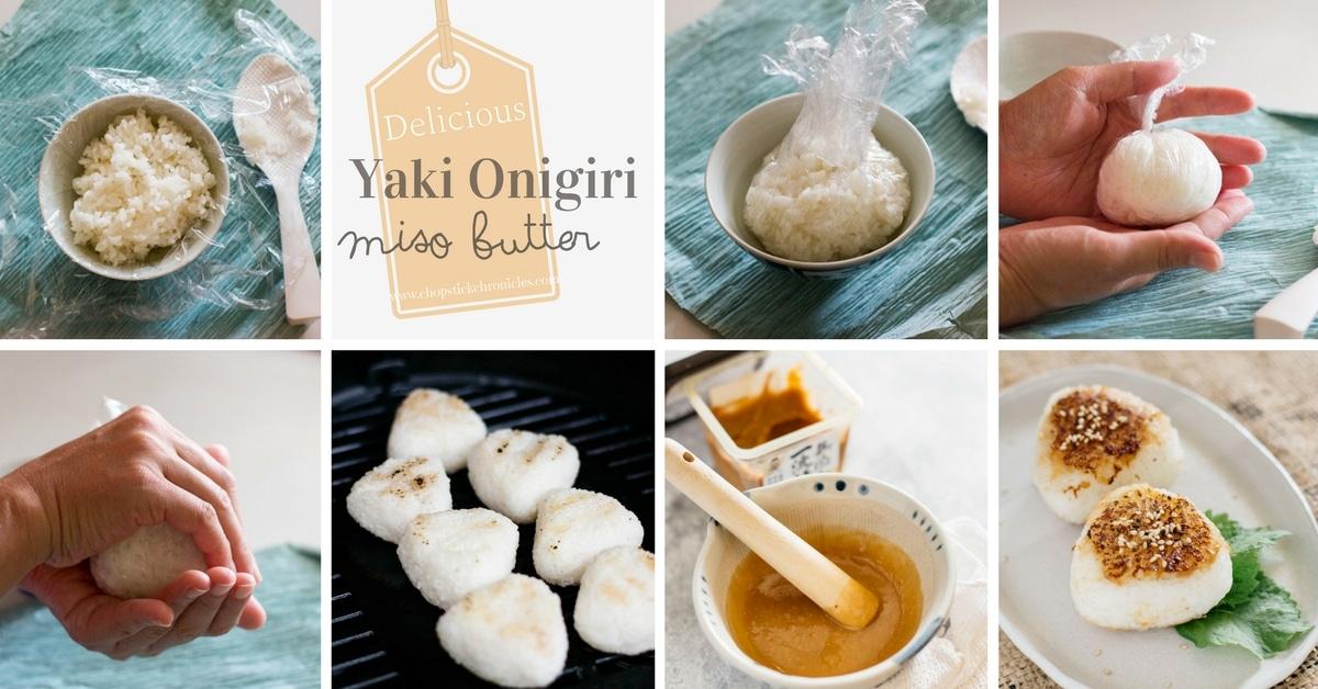 Yaki onigiri making process showed in 8 panels