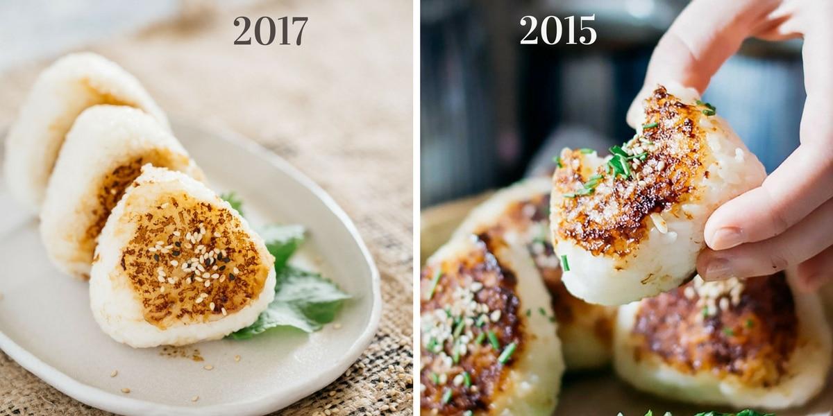 miso yaki onigiri Photo improvement comparison 2015 and 2017