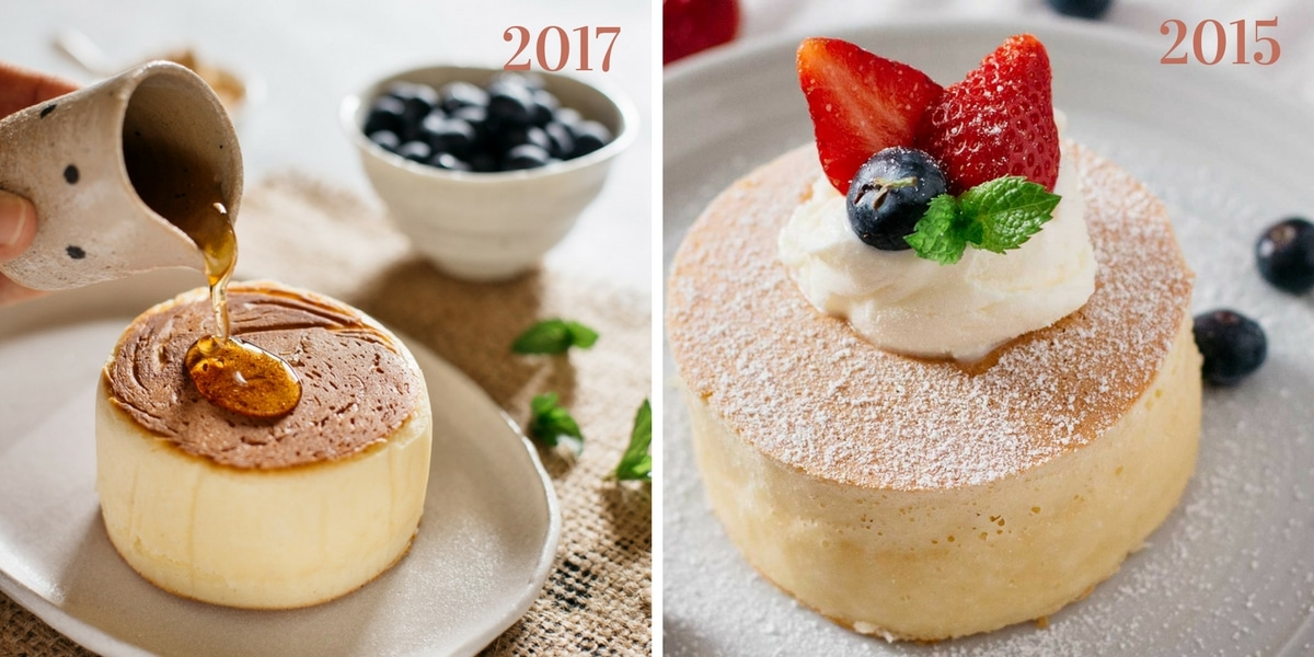 Fluffy Japanese pancakes photos comparison 2015 and 2017