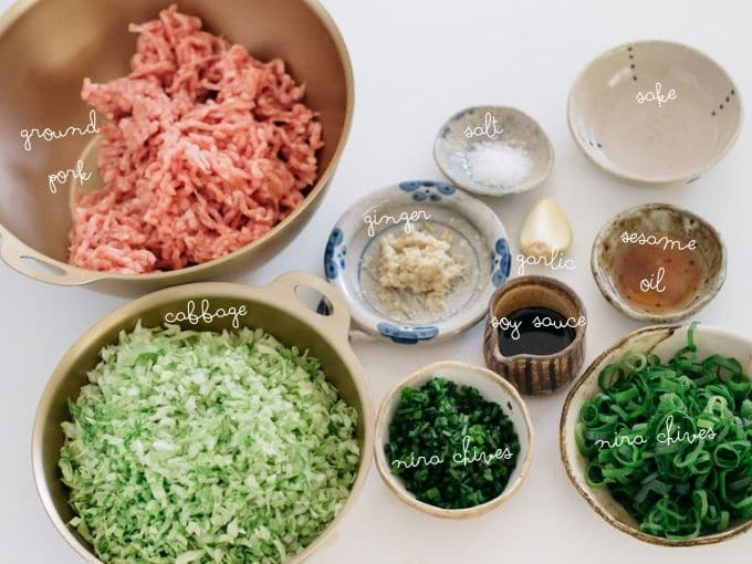 ground pork, finely cut cabbage, chives, scallions, ginger, garlic, soy sauce, sake, sesame oil, sake and salt in bowls