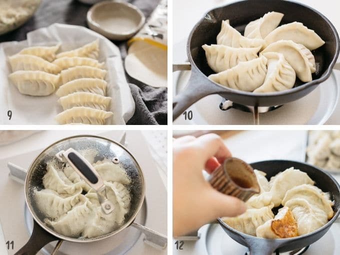 Frying gyoza pieces in a cast iron skillet