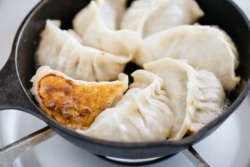 one piece of seven gyoza is turned over and showing crispy golden brown bottom