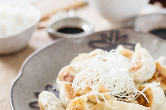Japanese Gyoza pieces served on a plate, two rice balls and dipping sauce small bowls