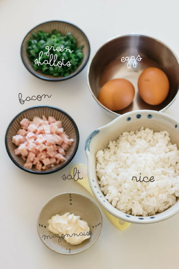 Fried rice ingredients- rice, eggs, chopped green shallots, chopped bacon, and salt