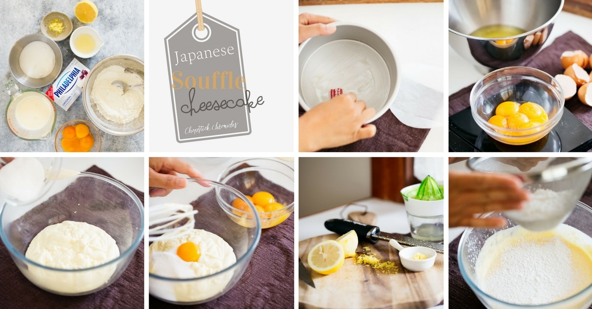 Japanese souffle pancake making process photos