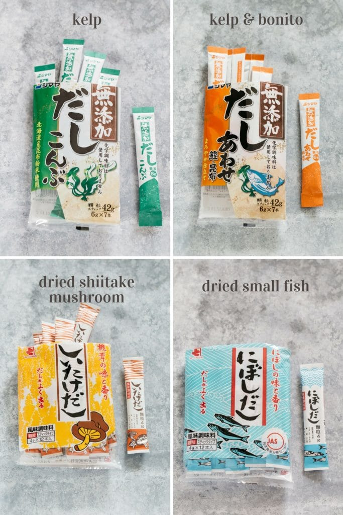 4 different types of powdered dashi