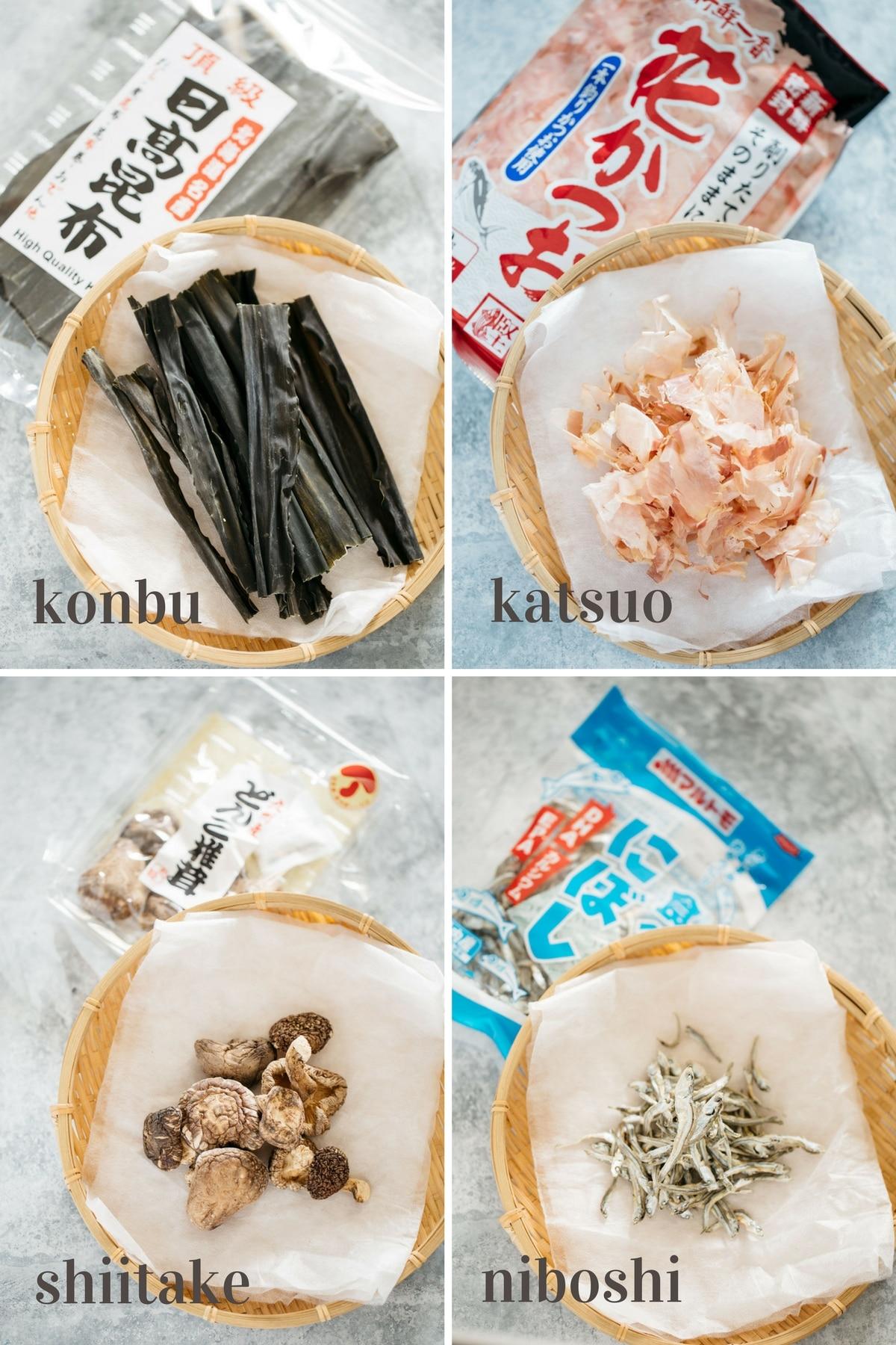 Dashi stock variety, konbu, katsuo, shiitake, niboshi