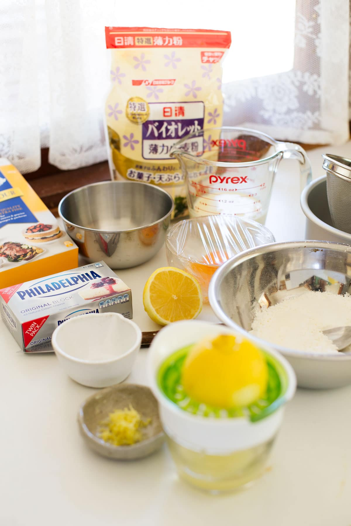 Japanese souffle cheesecake ingredients on the kitchen bench