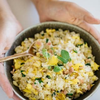 Yakimeshi Japanese fried rice in a shallow bowl hold by two hands