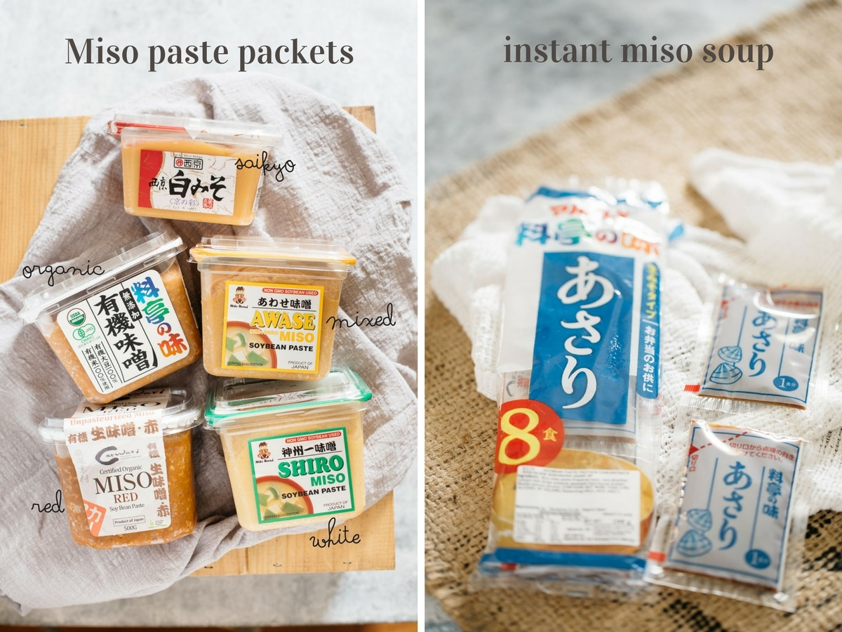left: 5 different types of store bought miso packets, right: instant miso soup packets