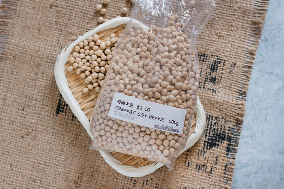 organic soybeans in a packet